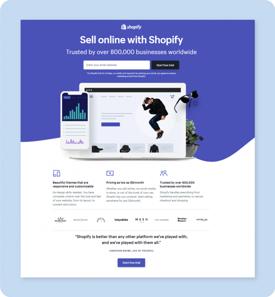 Shopify Great Landing Page Design