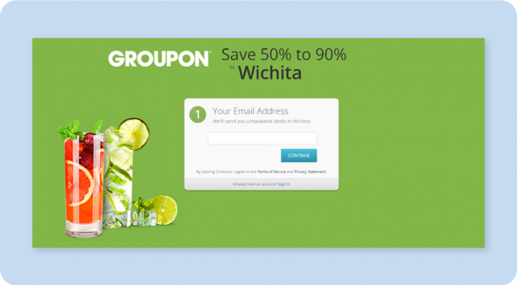 Groupon Great Landing Page Design