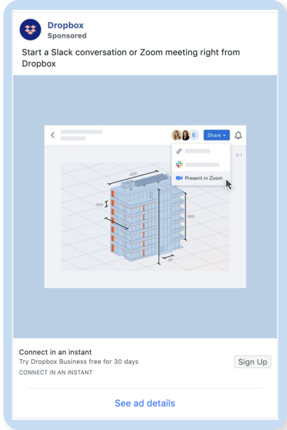 Dropbox Facebook Ad Example