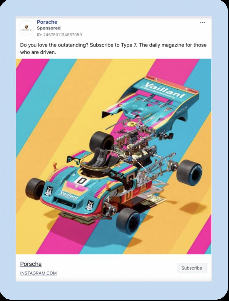 Porsche Facebook ad