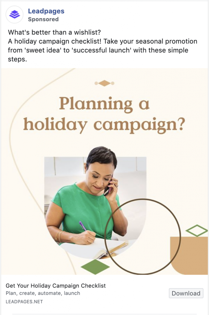 Leadpages Facebook ad examples