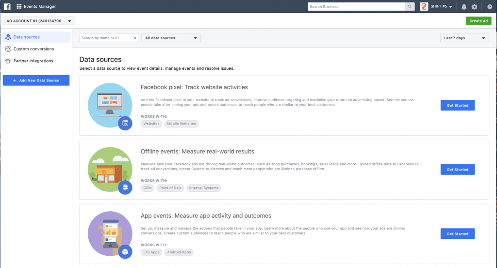 Events Manager Facebook retargeting campaign