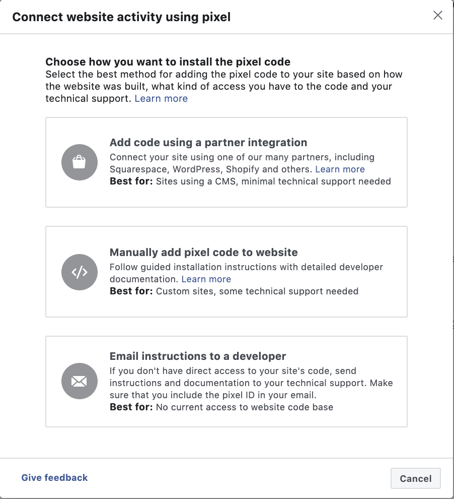 Facebook retargeting campaign pixel