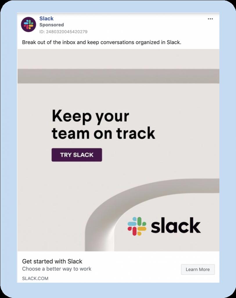 Slack Facebook ad