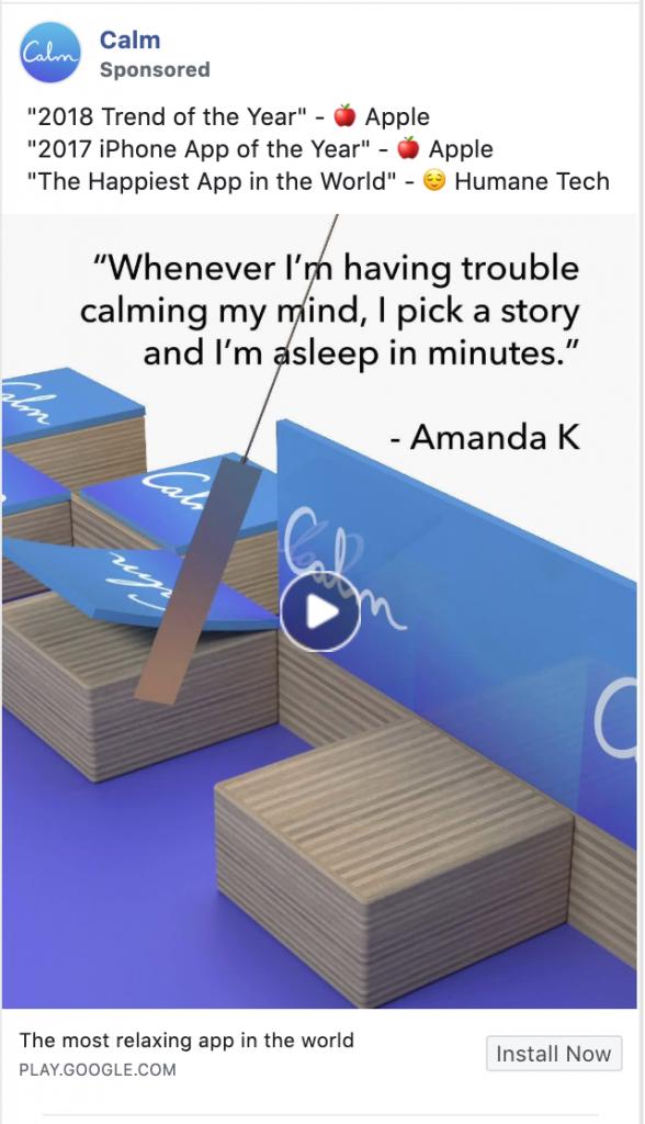 Calm Facebook Ad