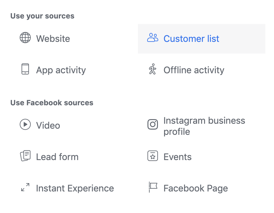 Customers List Facebook