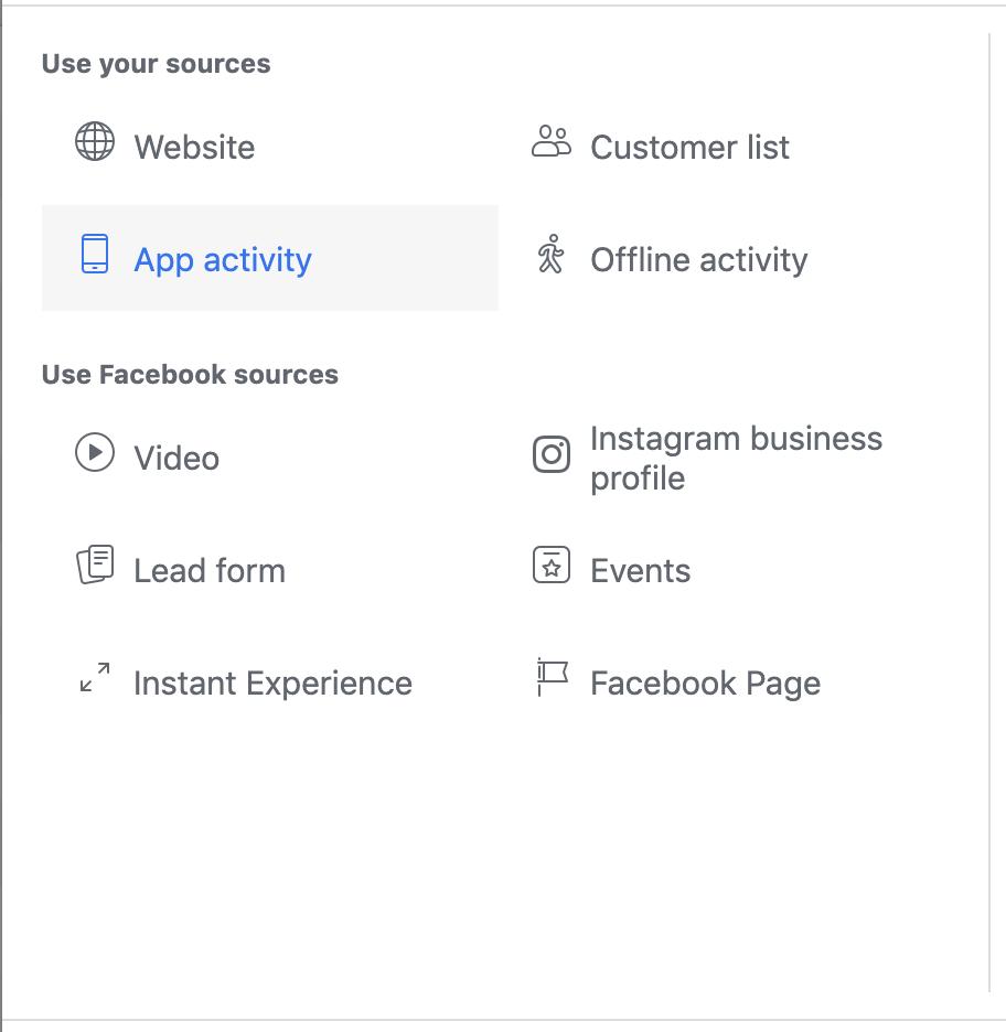 App activity custom audience