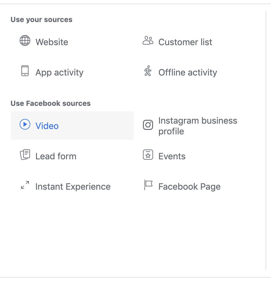 Video Custom Audience Facebook