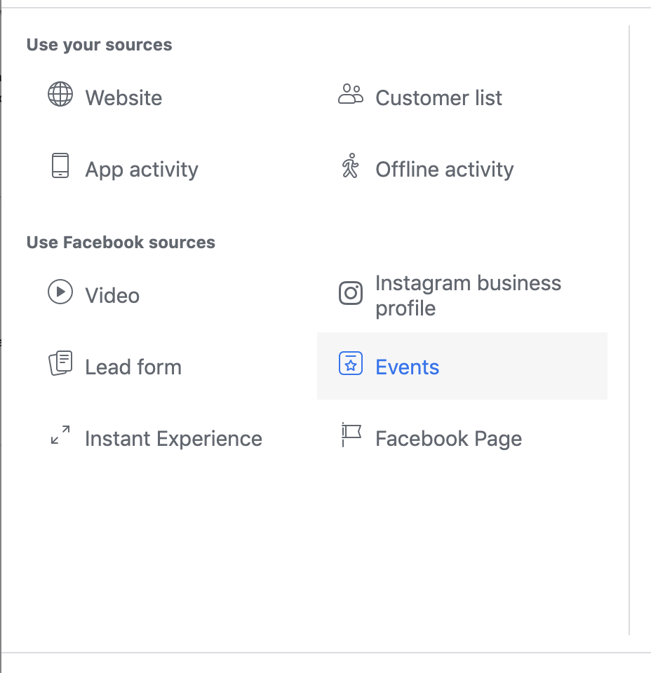 Events Facebook Custom Audience