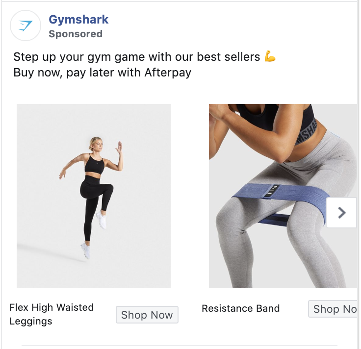 Gymshark Facebook Cross Sell Ad