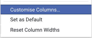 Customise columns Facebook