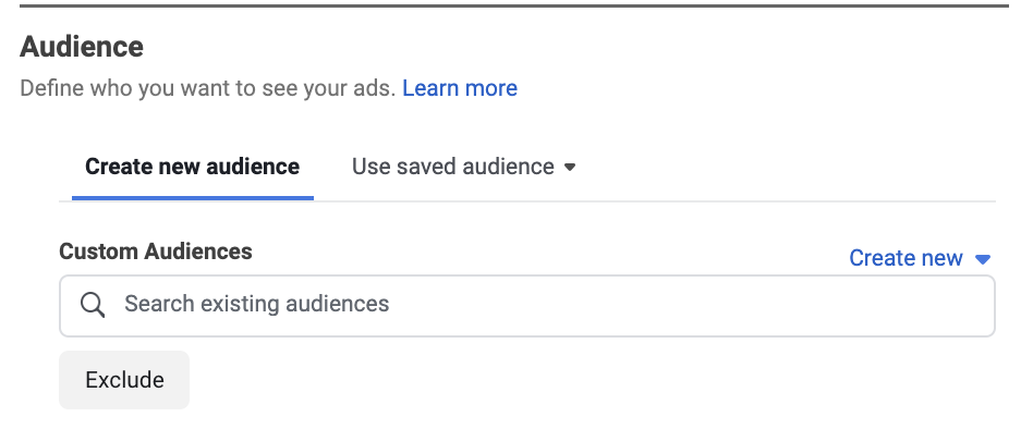 Custom audience Facebook ads retargeting campaign