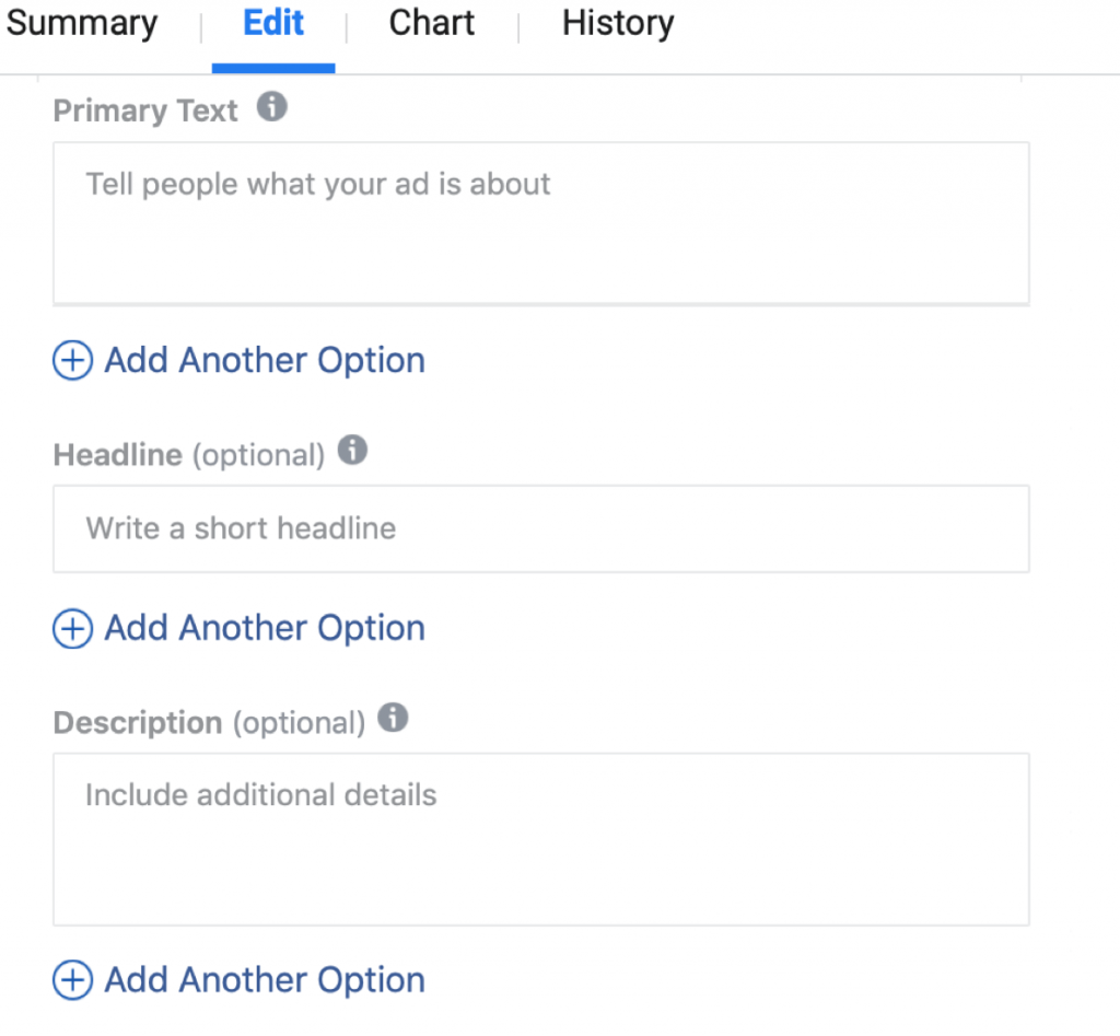 mise à jour Facebook: multiple text optimization