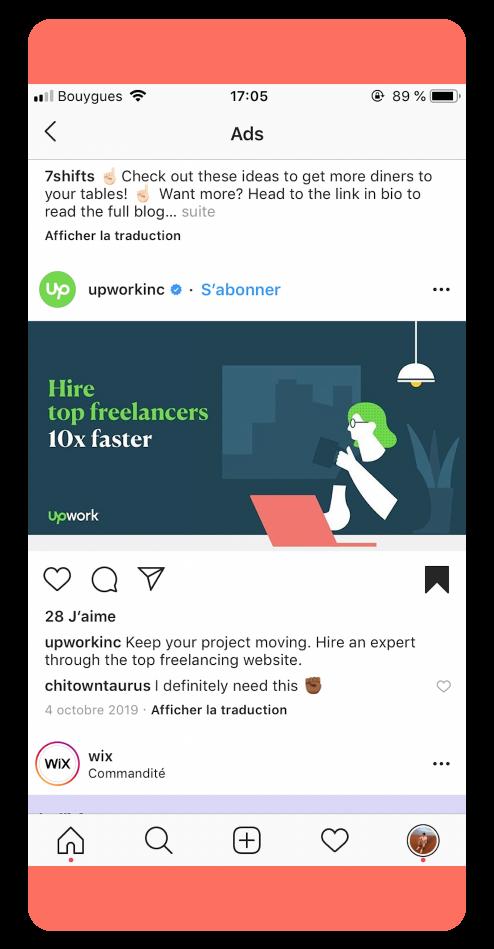 UpWork - Best Instagram Ads 2019