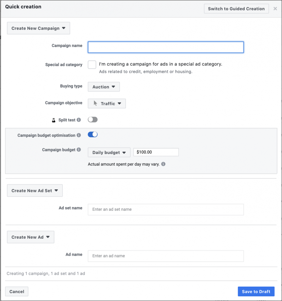 Campaign creation Facebook Instant Experience