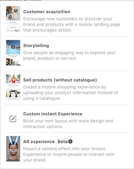 Facebook instant experience templates