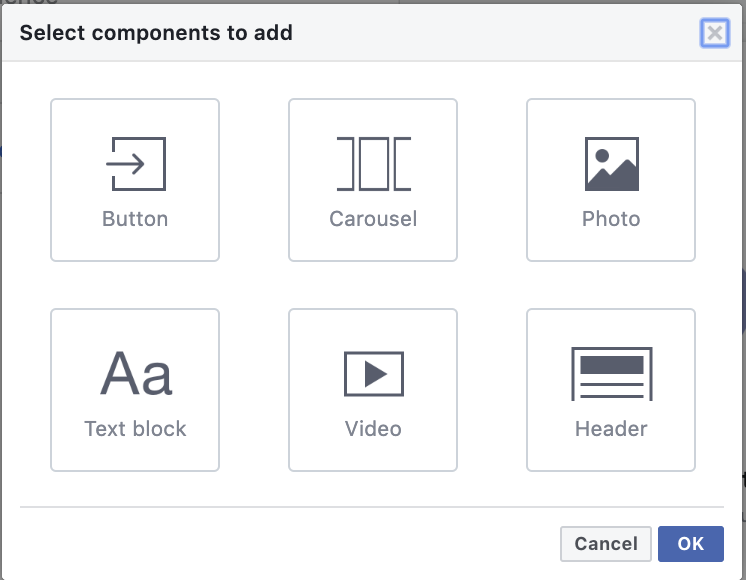 Facebook instant experience components