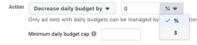 Decreasing budget Facebook automated rules