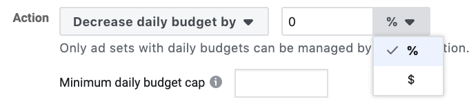 Decrease budget Facebook ad rules