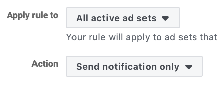 Send notification Facebook automated rule