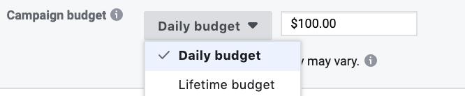 Daily lifetime budget Facebook ads