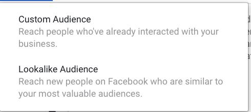 Custom audience Lookalike audience Facebook ads