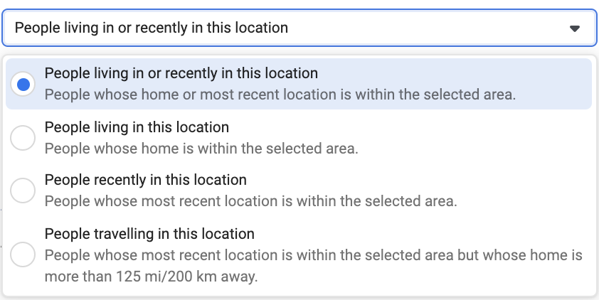 Facebook ads location