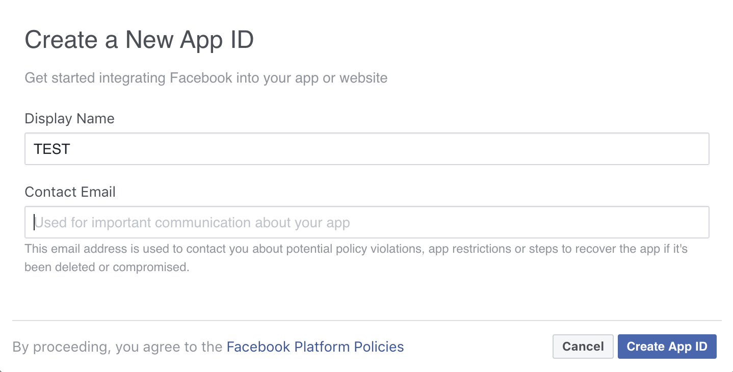 Create Facebook Login