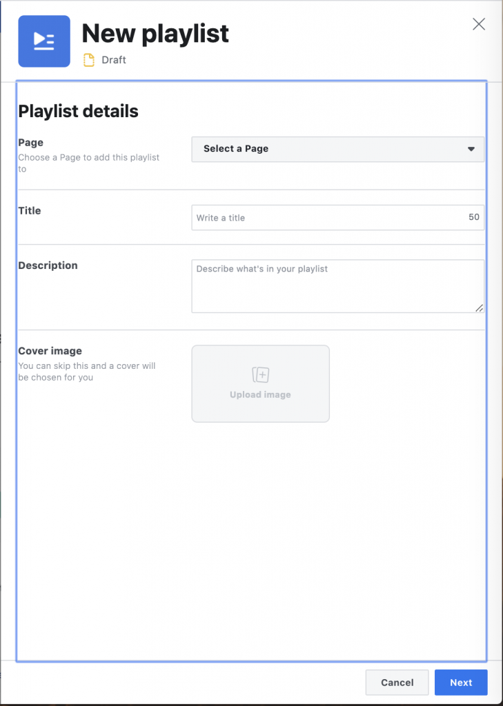 Playlist Facebook Creator Studio