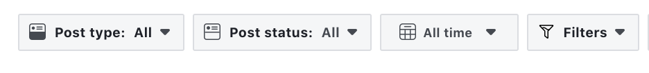Filtering Options Facebook creator studio