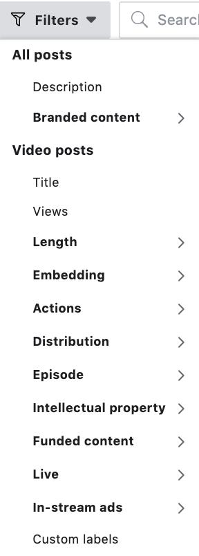 Filtering Options Facebook creator studio