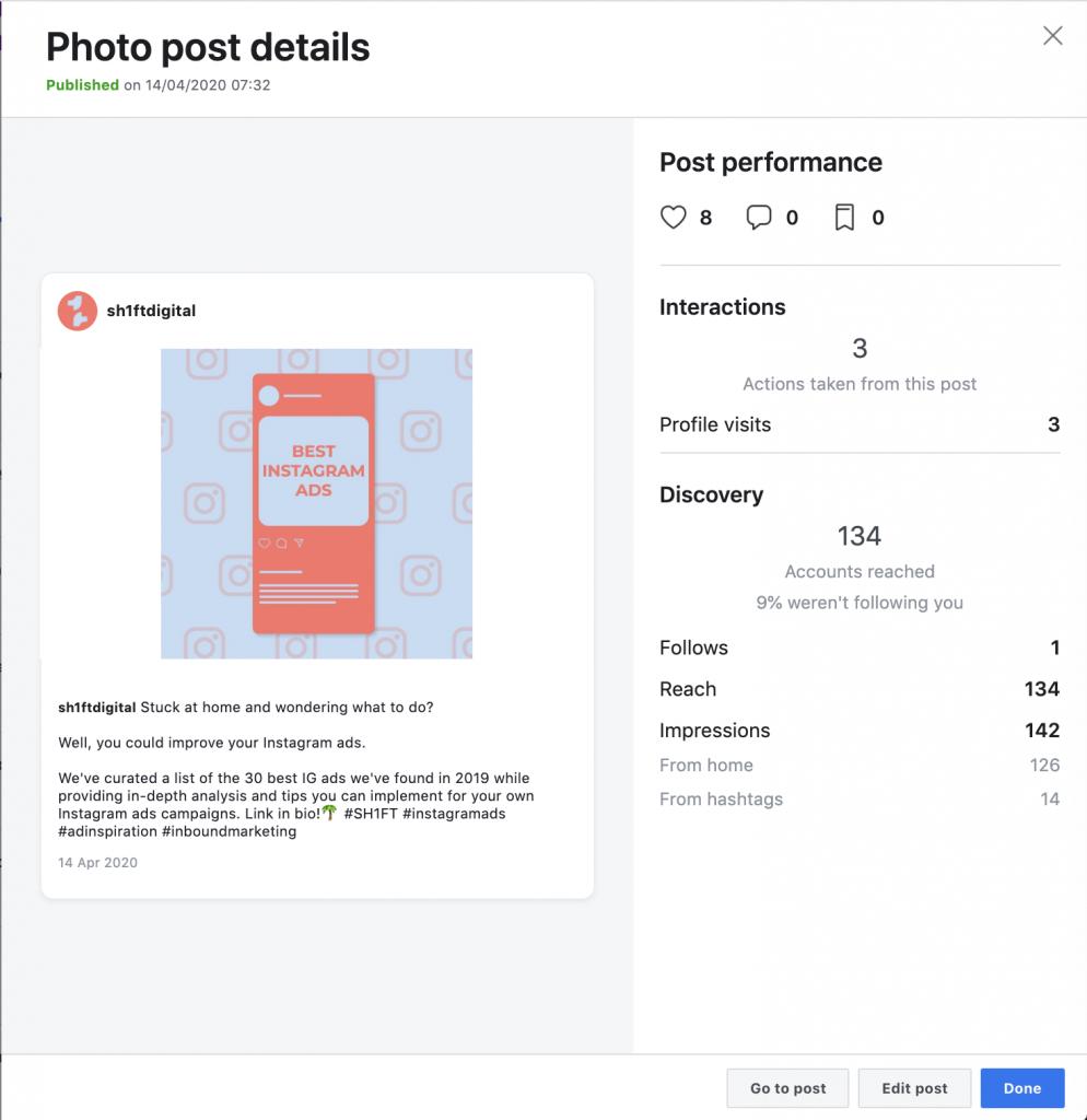 Instagram post statistics Creator Studio