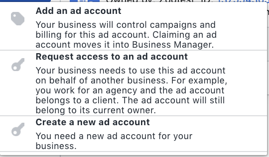 Create new ad account