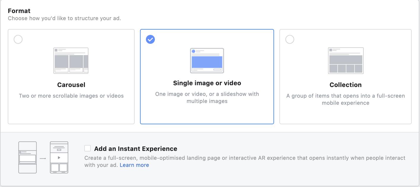 Facebook ads formats