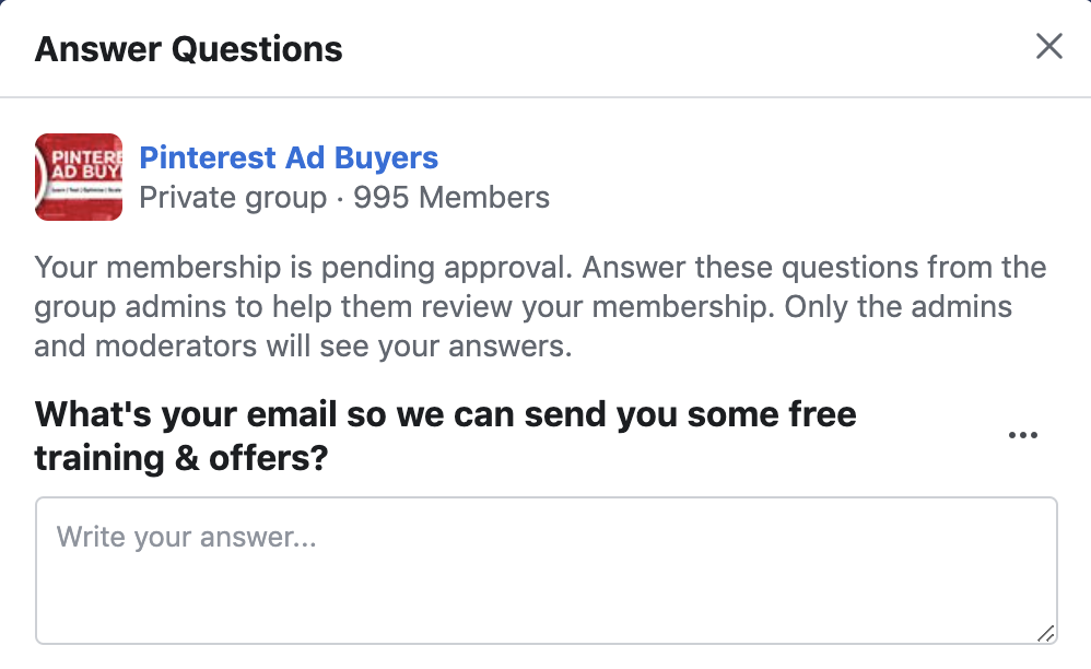 Facebook ad buyer's group