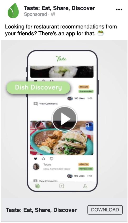 Taste Facebook Video Ad