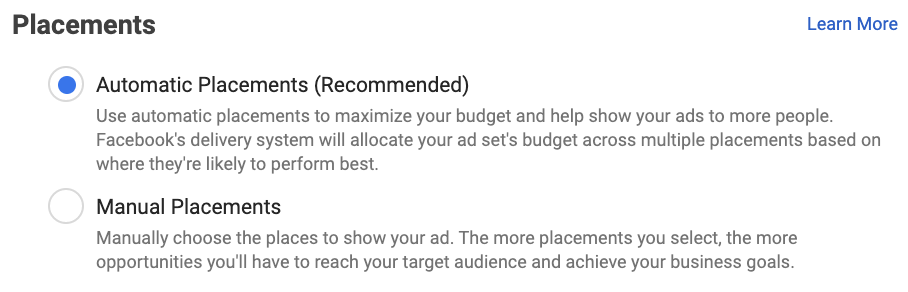 Automatic Placements Facebook ads