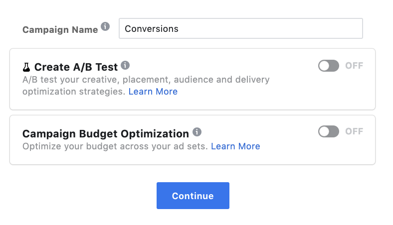 Facebook Campaign Options