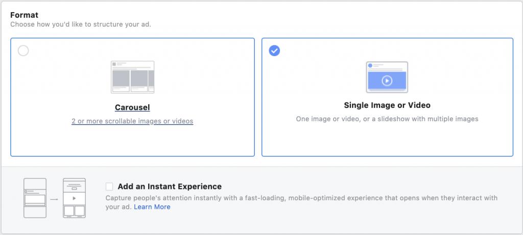 Facebook ads format