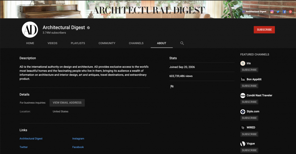 Architectural Digest Youtube Channel description.