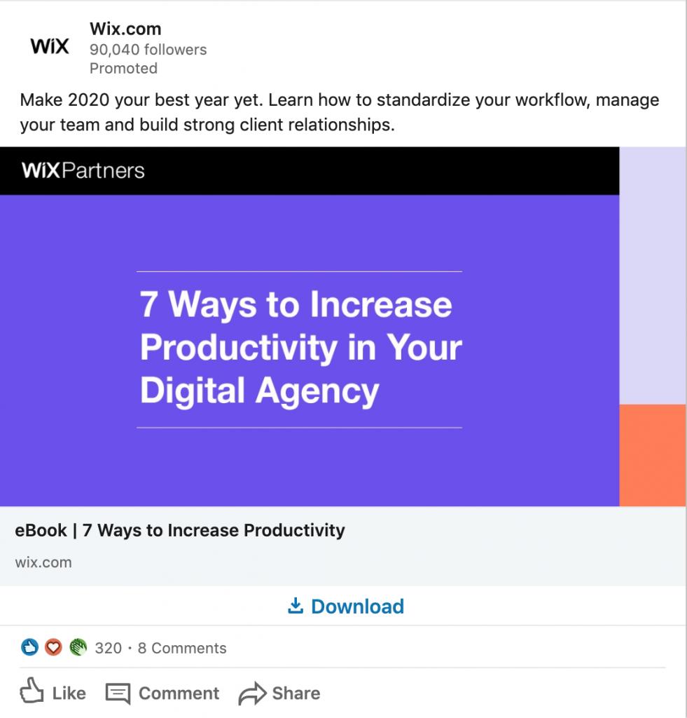 Wix LinkedIn B2B
