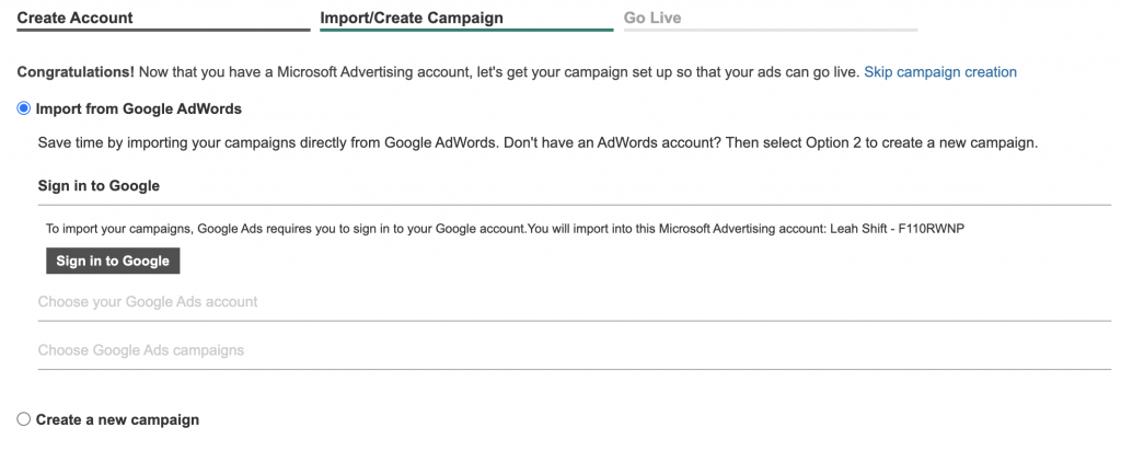 Shows that you can import a campaign you created in Google Ads to Microsoft Advertising.