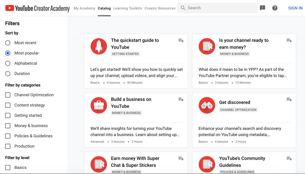 Youtube Creator Academy.