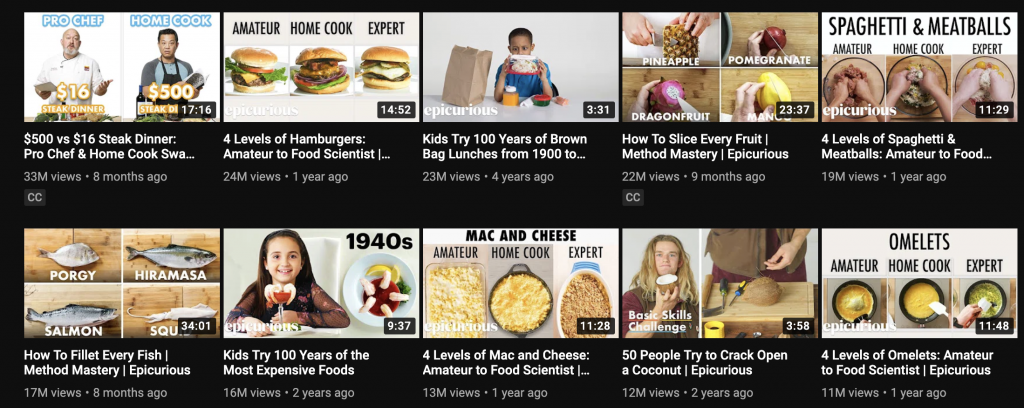 Youtube channel Epicurious video thumbnails.