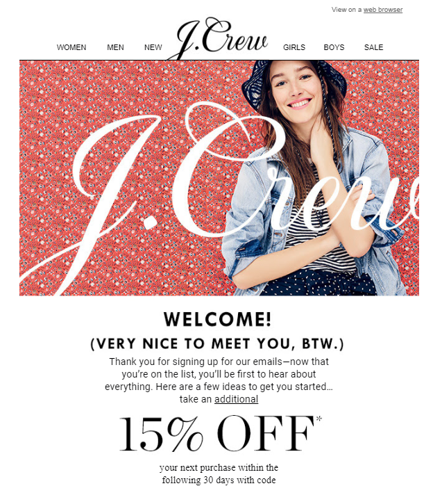 JCREW email marketing incentive for signing up.