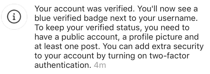 Notification of Instagram verification being approved.