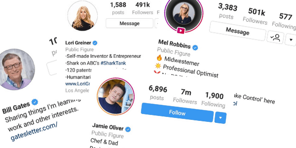 Photo of verified Instagram accounts.