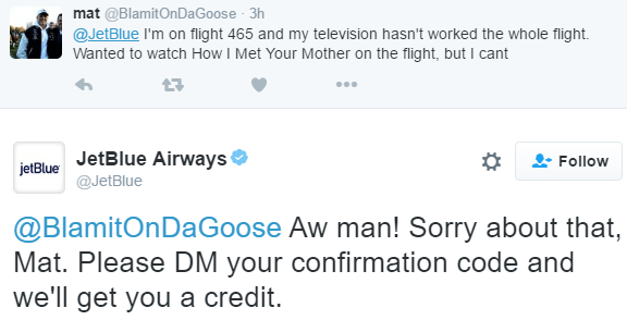Jet Blue Twitter account example of how to respond to feedback from customers.