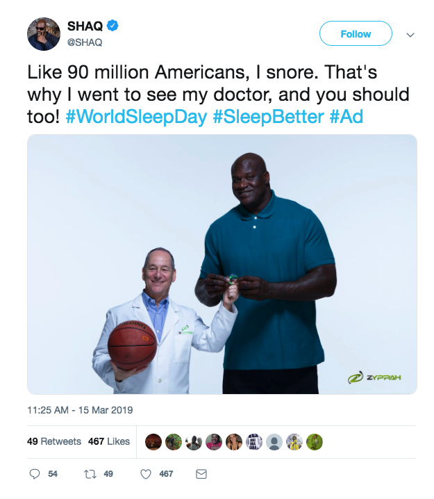 Zyppah Twitter ad featuring Shaq.