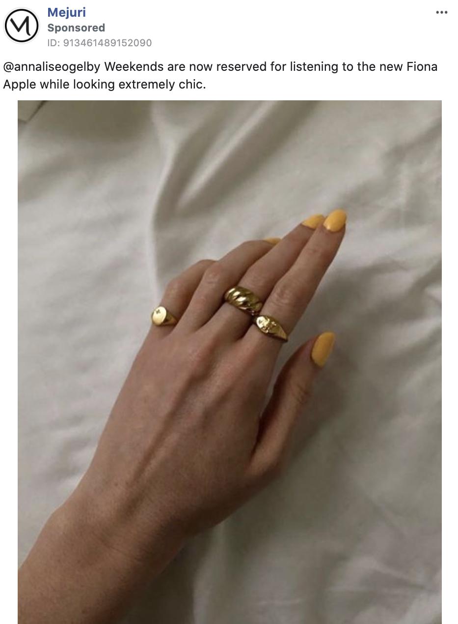 Mejuri facebook ad